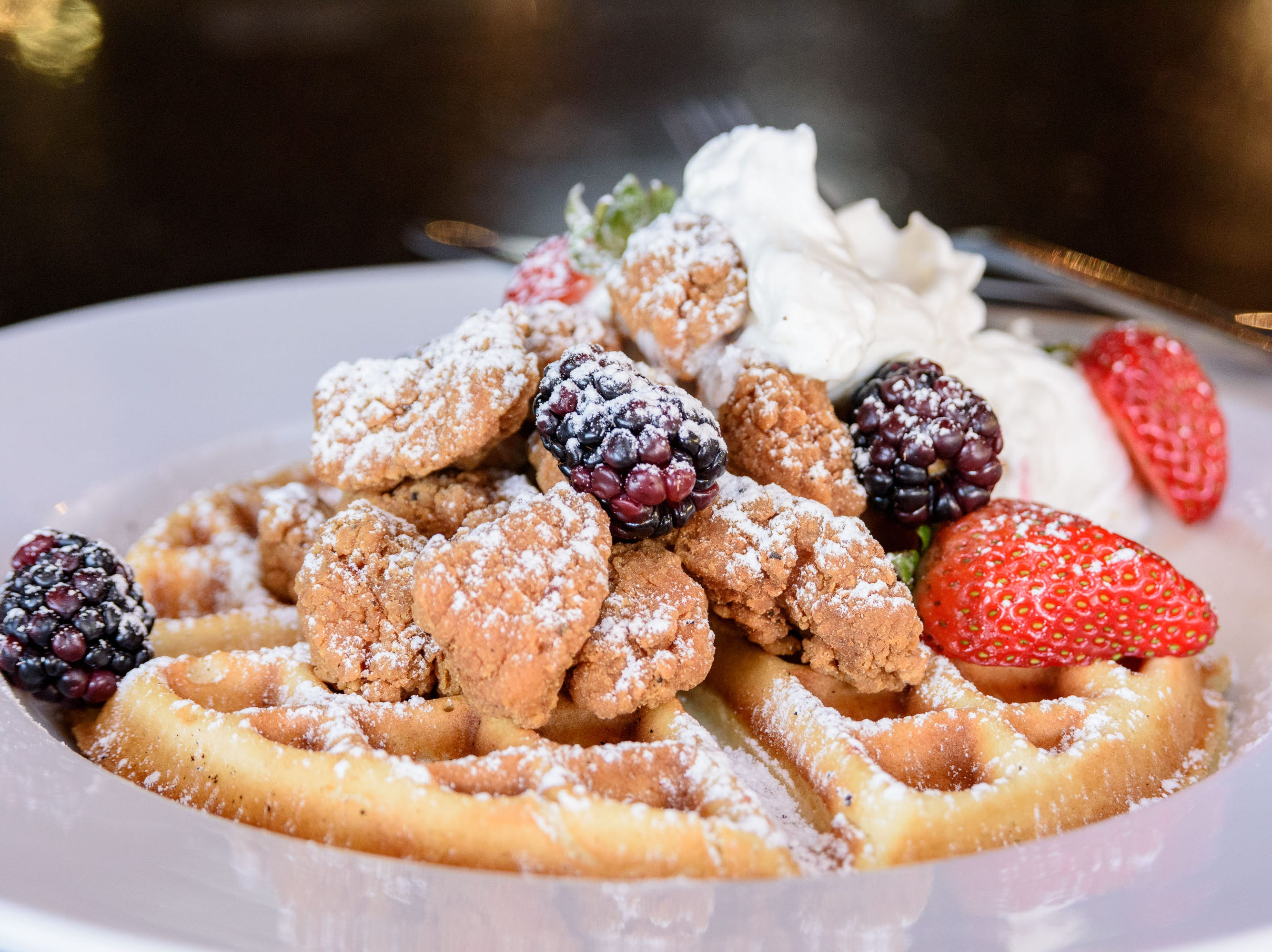 Chicken and Waffles at The Manhattan Project at 2101 Frankfort Ave. Oct. 18, 2018