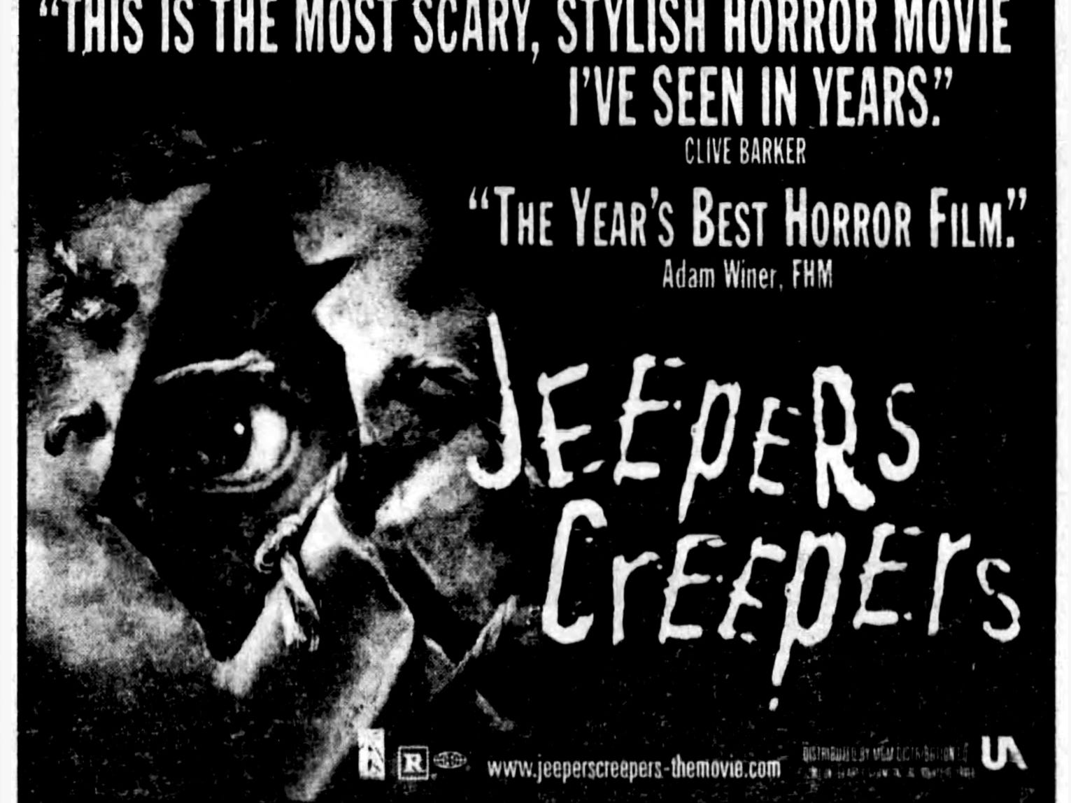 """""""Jeepers Creepers,"""" Friday, Aug. 31, 2001"""