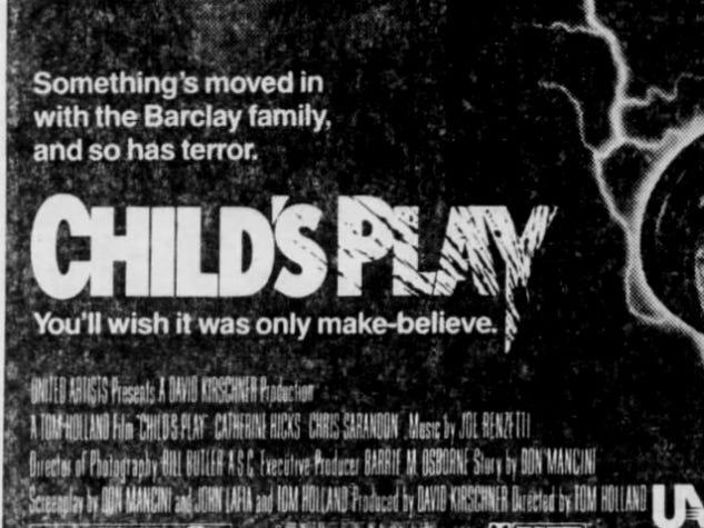 """""""Child's Play,"""" Wednesday, Nov. 9, 1988"""