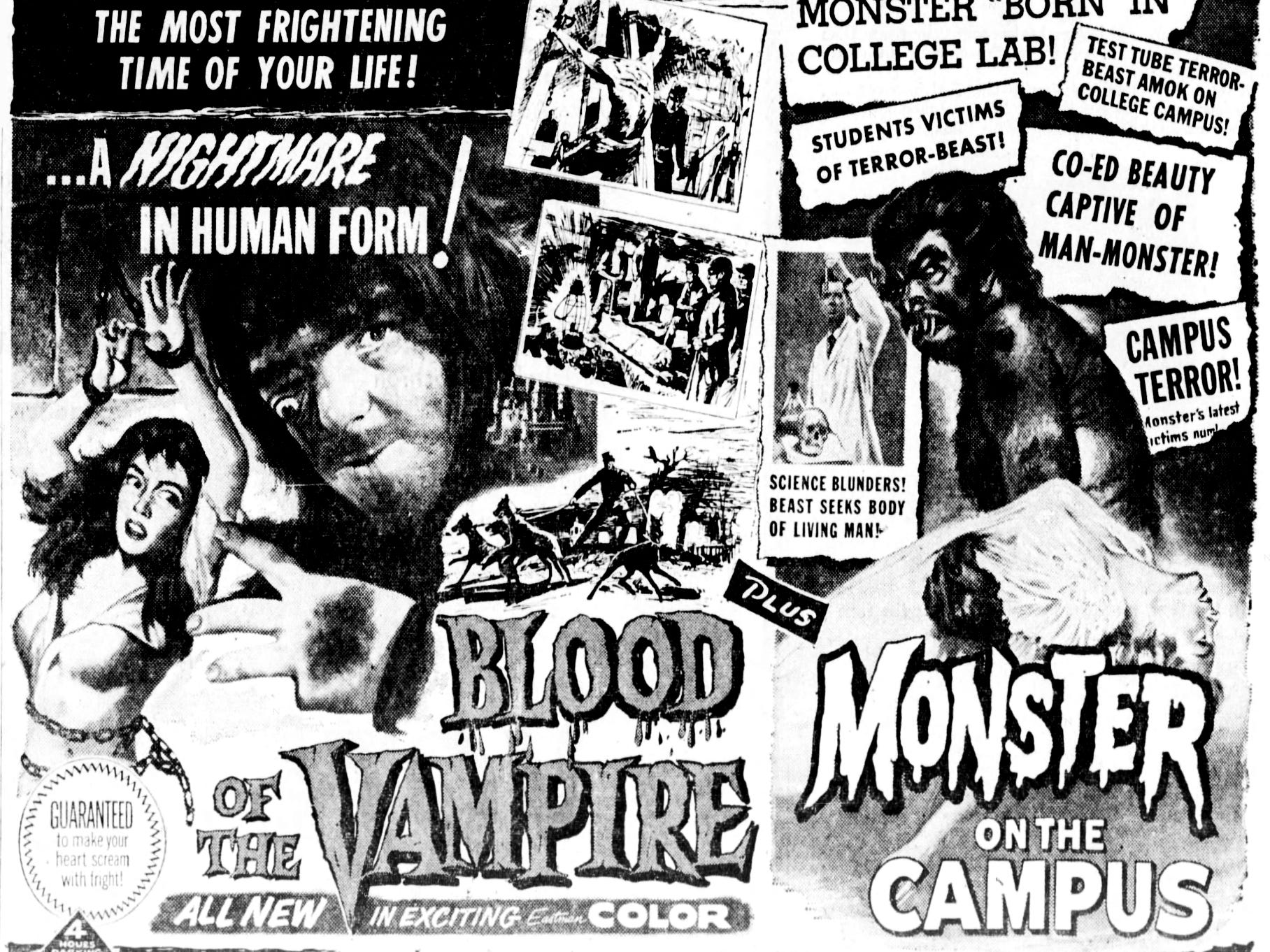 """""""Blood of the Vampire"""" and """"Monster on the Campus,"""" Thursday, Oct. 30, 1958"""