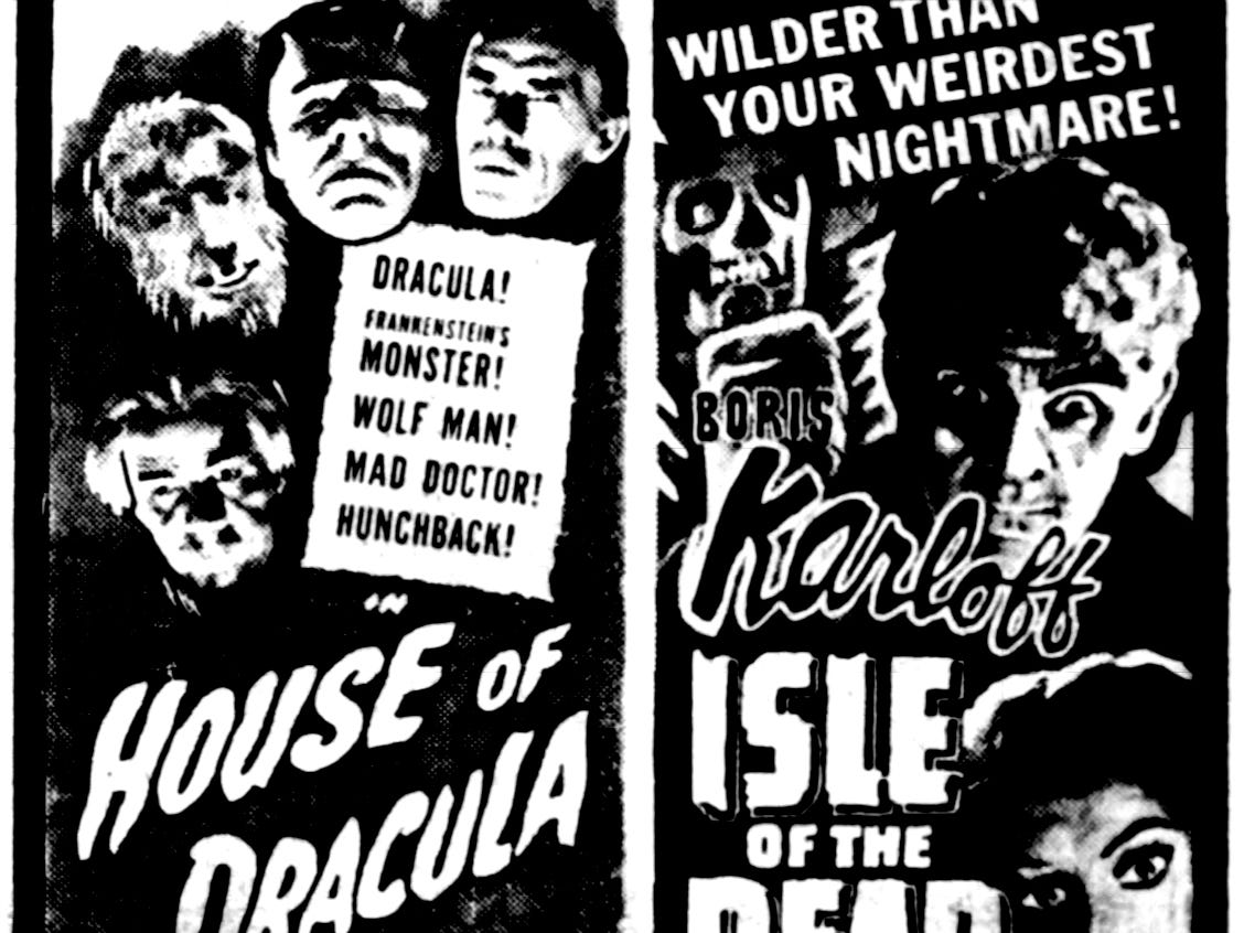 """""""House of Dracula"""" and """"Isle of the Dead,"""" Friday, Jan. 26, 1946"""