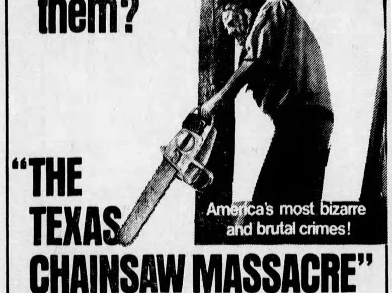"""The Texas Chainsaw Massacre,"" Friday, Nov. 1, 1974"
