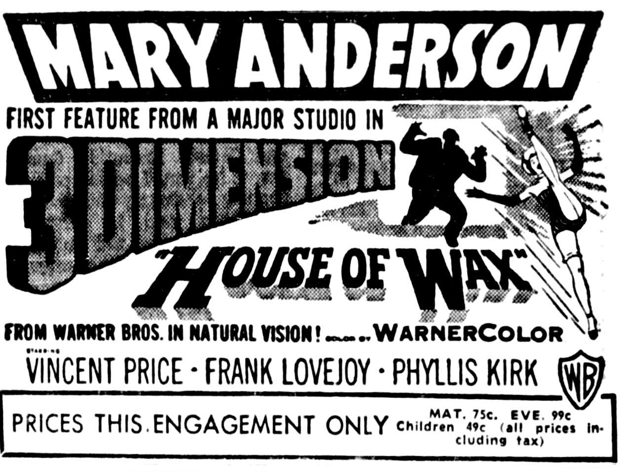 """""""House of Wax,"""" Saturday, May 9, 1953"""