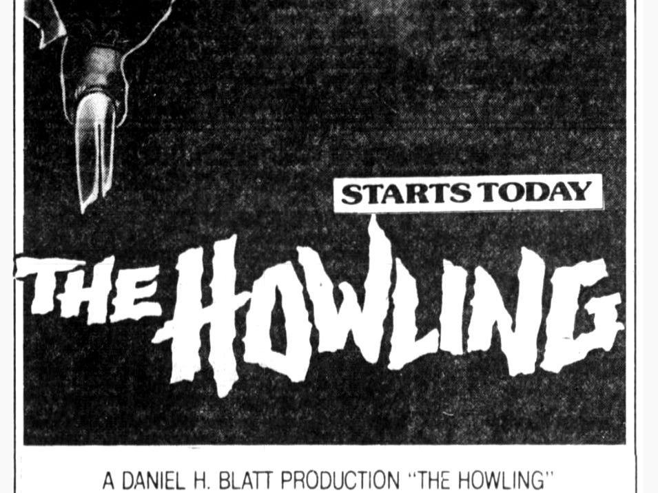 """""""The Howling,"""" Friday, Apr. 10, 1981"""