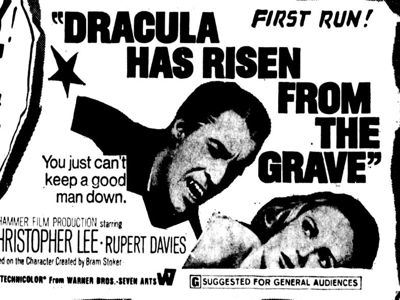 """""""Dracula Has Risen from the Grave,"""" Sunday, Mar. 30, 1969"""