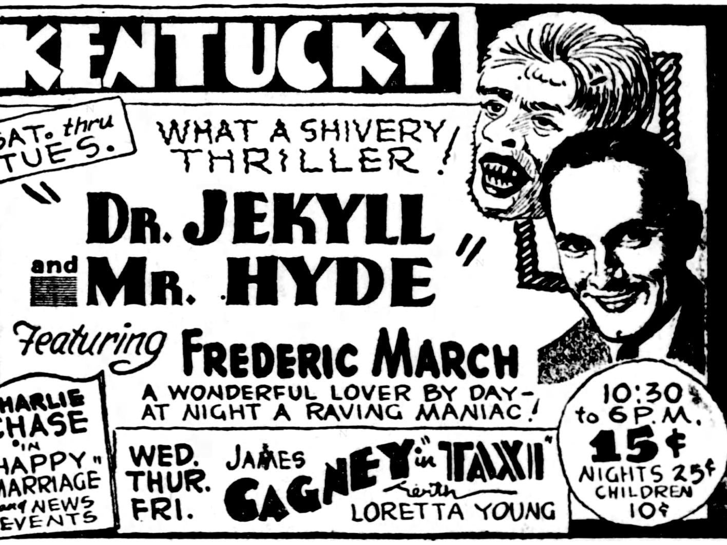 """""""Dr. Jekyll and Mr. Hyde,"""" Saturday, March 5, 1932"""