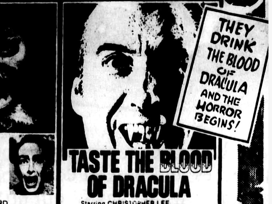 """Taste the Blood of Dracula,"" Thursday, Oct. 8, 1970"