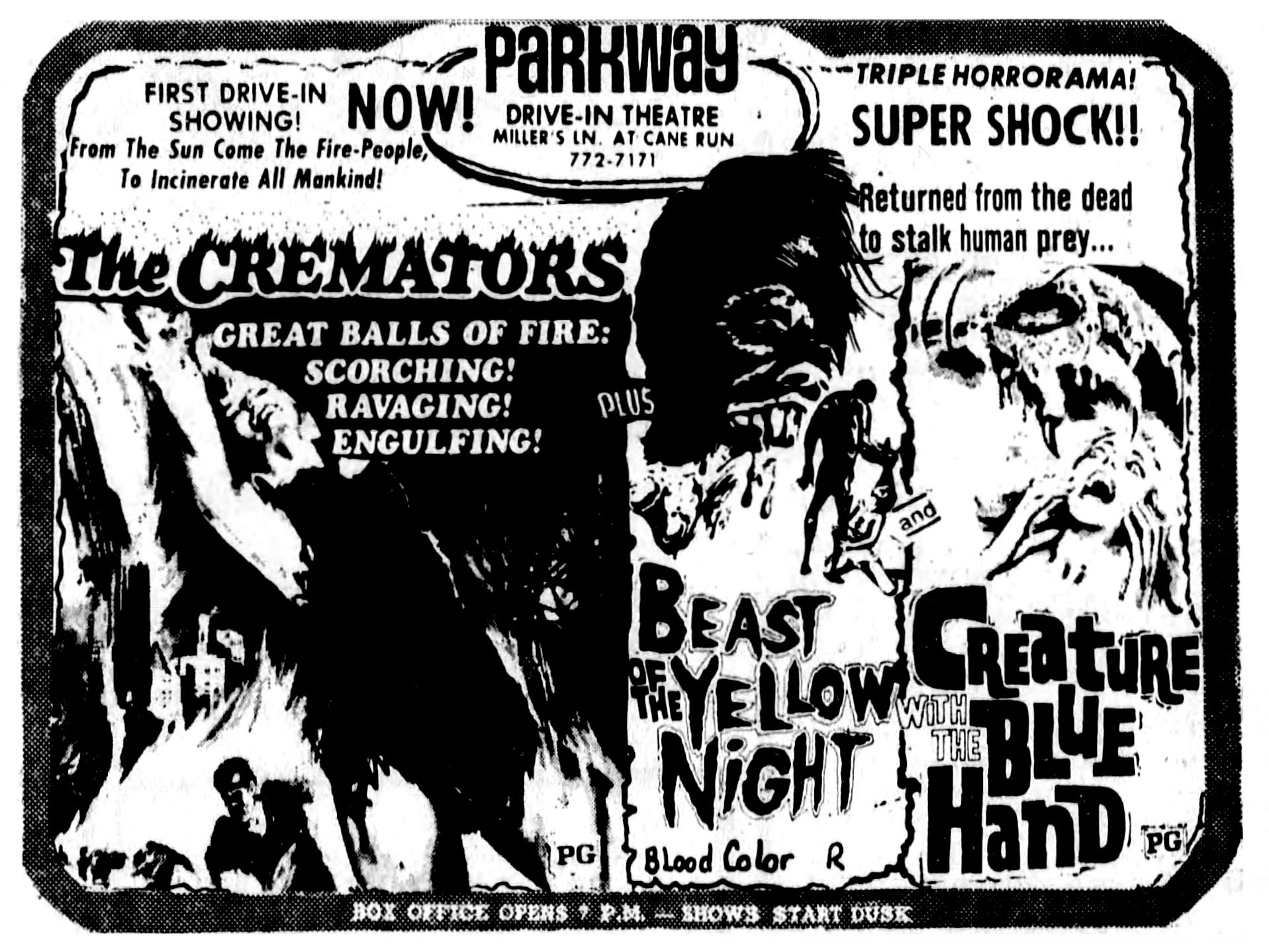 """""""The Cremators,"""" """"Beast of the Yellow Night"""" and """"Creature with the Blue Hand,"""" Friday, Sept. 15, 1972."""
