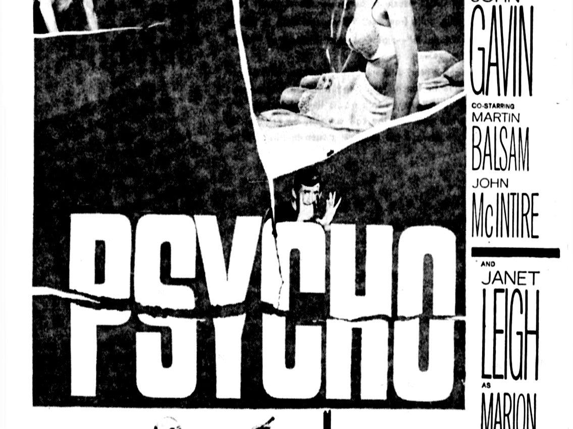 """""""Psycho,"""" Friday, Sept. 2, 1960"""