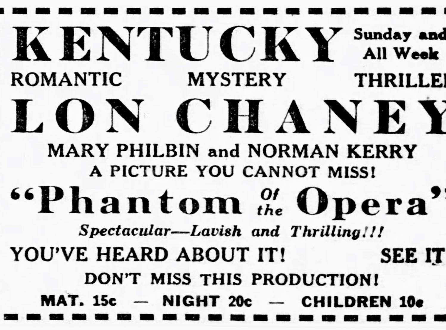 """Phantom of the Opera,"" Sunday, Apr. 11, 1926"