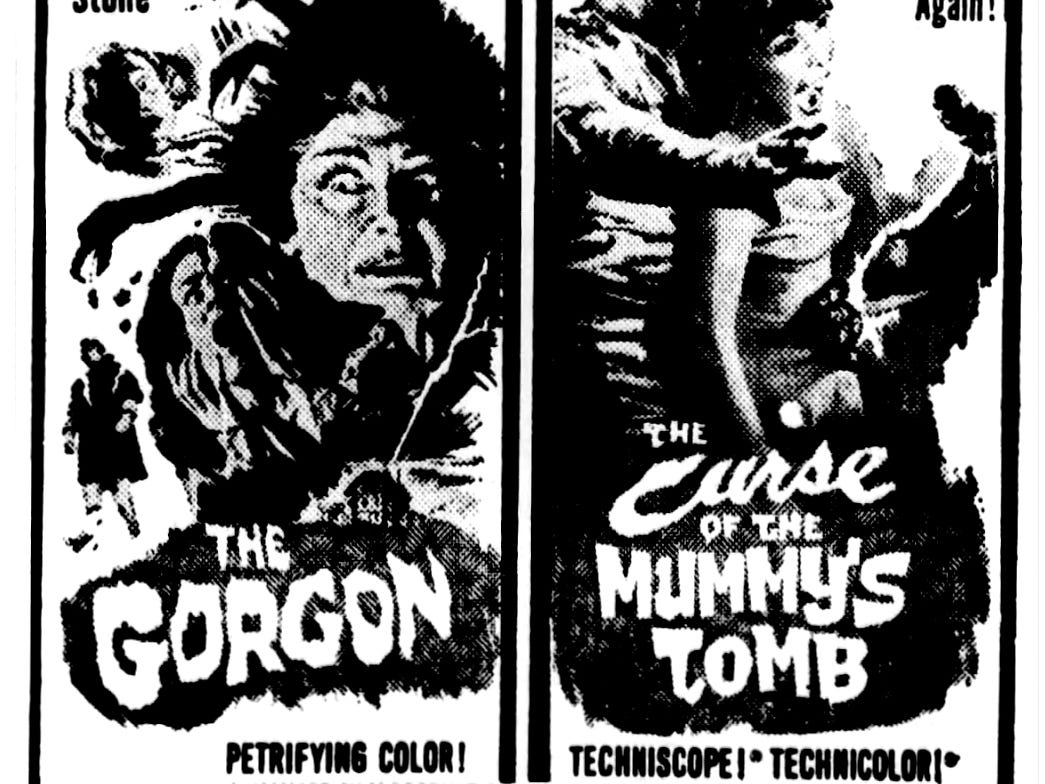 """""""Curse of the Mummy's Tomb"""" and """"The Gorgon,"""" Sunday, Feb. 21, 1965"""