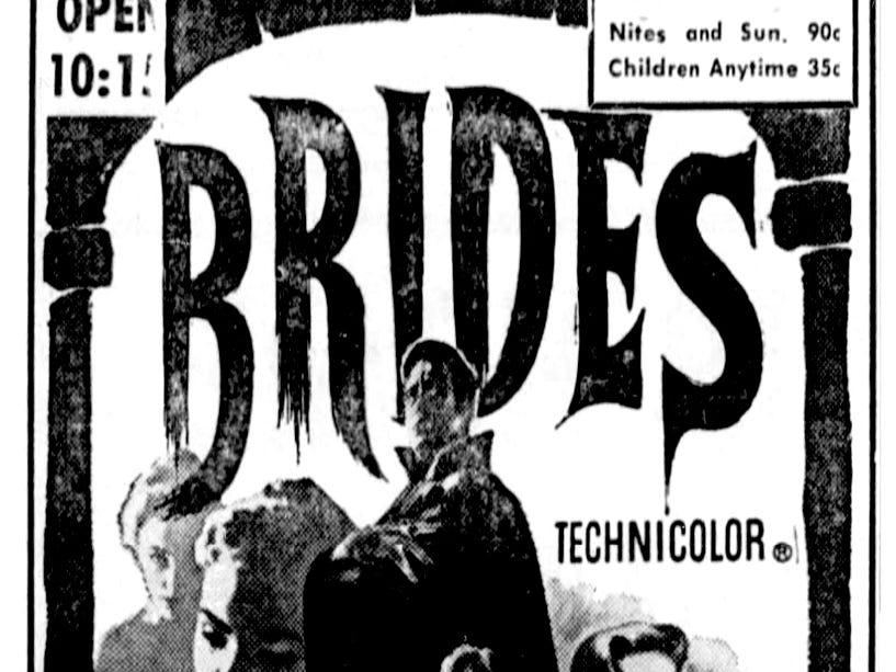 """Brides of Dracula,"" Thursday, June 16, 1960"