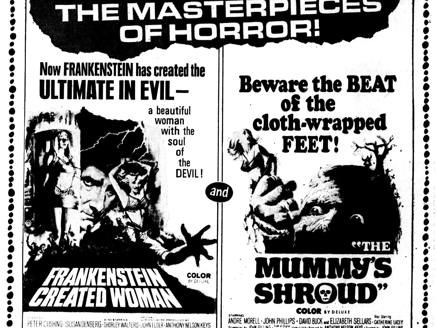 """""""Frankenstein Created Woman"""" and """"The Mummy's Shroud,"""" Wednesday, May 17, 1967"""