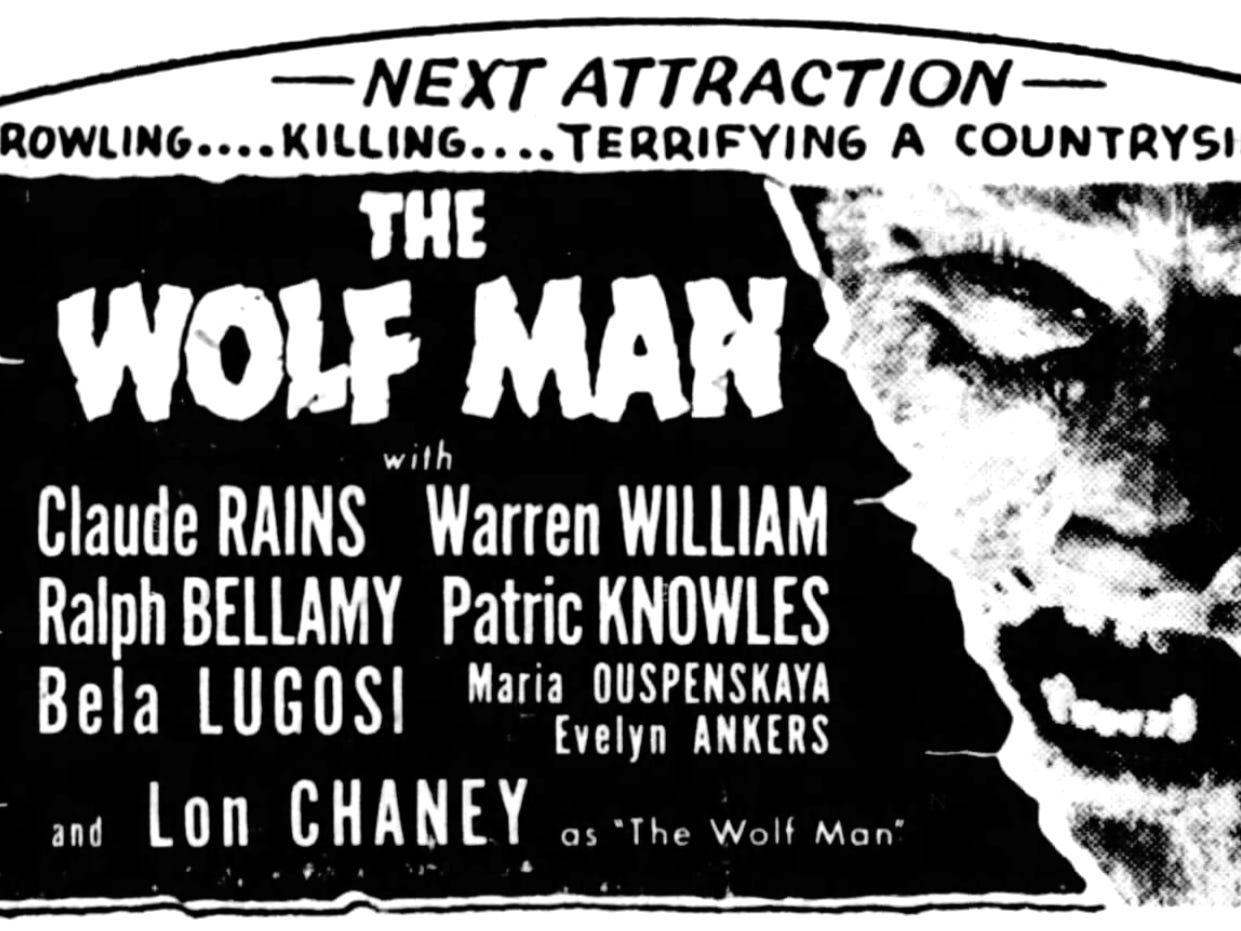 """The Wolf Man,"" Sunday, Dec. 28, 1941"