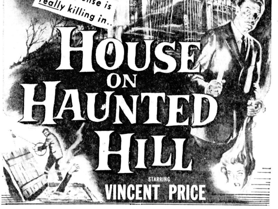 """""""House on Haunted Hill,"""" Thursday, Mar. 12, 1959"""