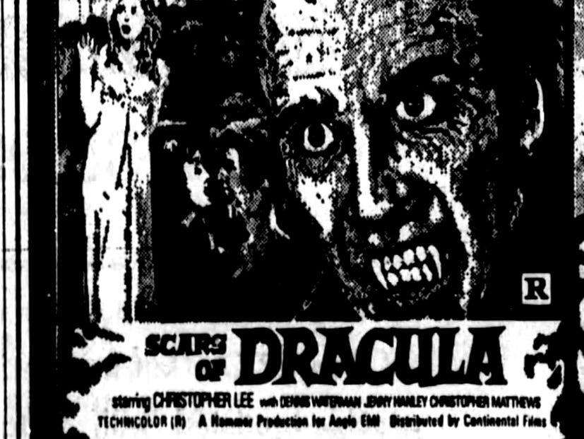 """""""Scars of Dracula,"""" """"Horror of Frankenstein"""" and """"Dracula Prince of Darkness,"""" Friday, Feb. 19, 1971"""