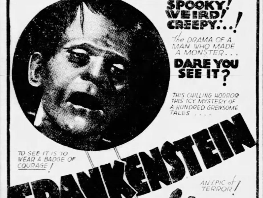 """""""Frankenstein,"""" Thursday, Jan. 28, 1932"""