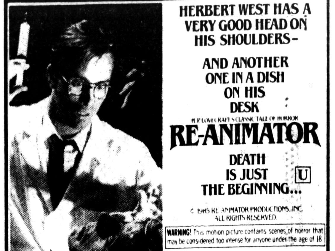 """Re-Animator,"" Friday, Jan. 10, 1986"