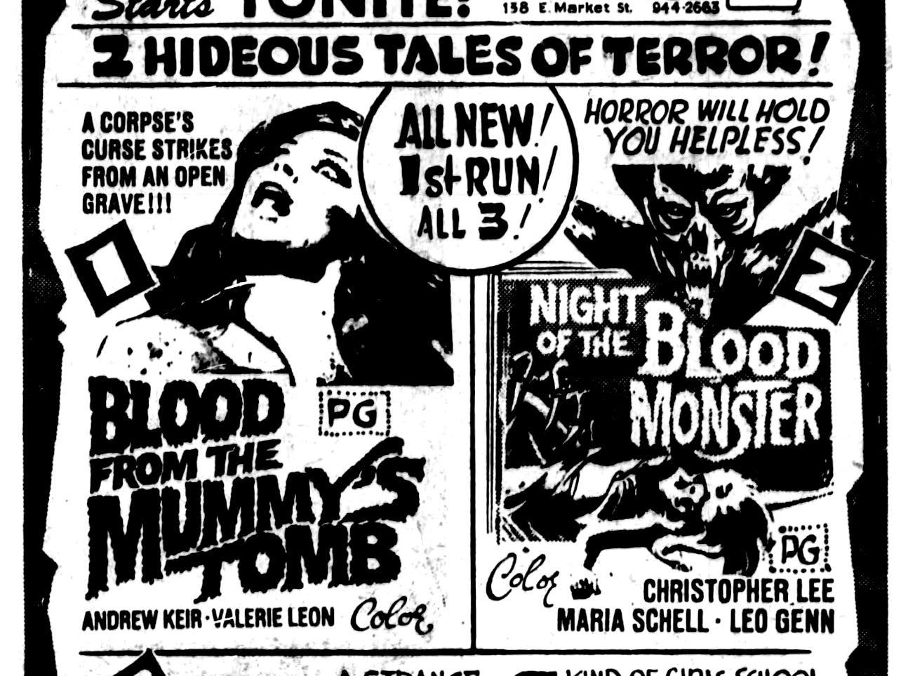 """""""Blood from the Mummy's tomb,"""" and """"Night of the Blood Monster,"""" Wednesday, May 31, 1972"""