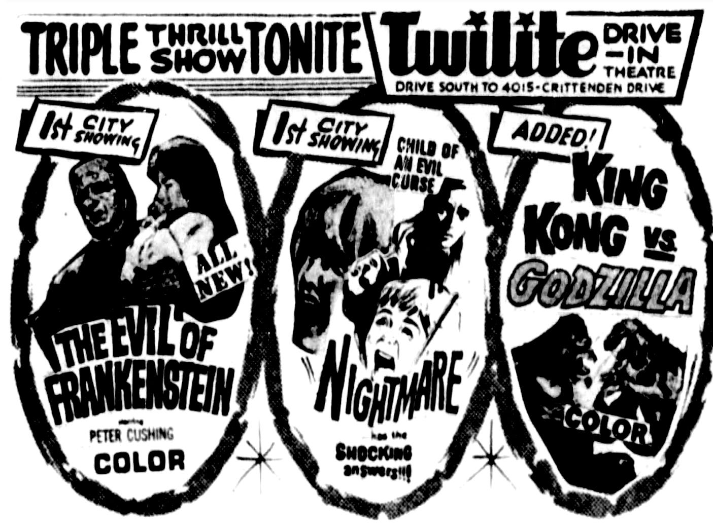 """""""The Evil of Frankenstein,"""" """"Nightmare"""" and """"King Kong vs Godzilla,"""" Monday, June 1, 1964"""