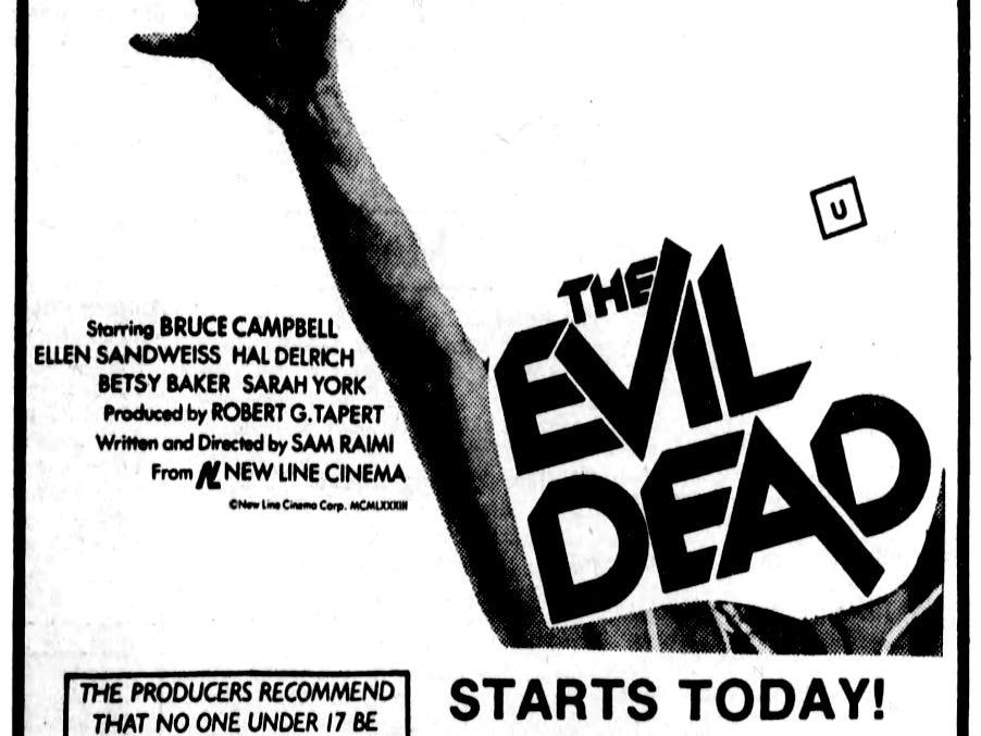 """""""The Evil Dead,"""" Friday, Sept. 2, 1983"""