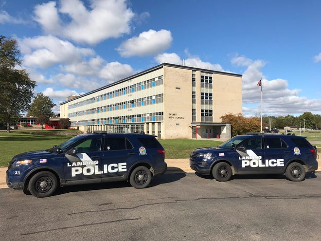 """Lansing police were called to help school officials deal with """"multiple fights"""" at Everett High School on Oct. 23, according to a district spokesman. Four people were arrested, police said."""
