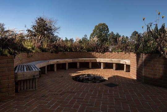 A backyard patio areas of the Demmer farmhouse.