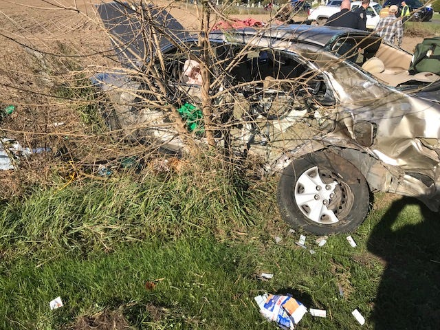 Police said a woman ran a stop sign and collided with another vehicle in Ionia County Monday afternoon.