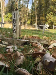Wooden crosses at a Manitowoc cemetery.