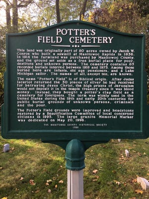 Sign at Manitowoc's Potter's Field Cemetery.
