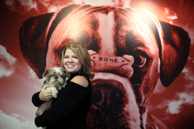 """RedRover CEO Lori Turner-Wilson holds 2-year-old Shih-Tzu Gizzy, at her downtown Memphis sales and marketing strategy firm, which has a new campaign guaranteeing marketing success with a results or money back initiative and the tagline """"I Shih-Tzu Not"""". Gizzy is currently up for adoption at the Sunny Meadows no-kill animal rescue shelter."""