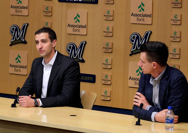 Milwaukee Brewers General Manger David Stearns and Manager Craig Counsell held the final press conference at Miller Park, Tuesday  October 23, 2018.  RICK WOOD / MILWAUKEE JOURNAL SENTINEL ORG XMIT: 20097011AÊ