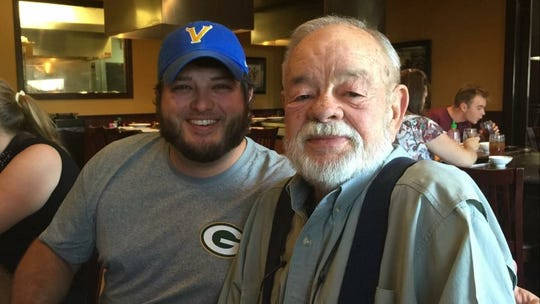 "Brandon Mattox with his grandfather, Charles ""Bud"" Mattox. Charles passed away in 2017."