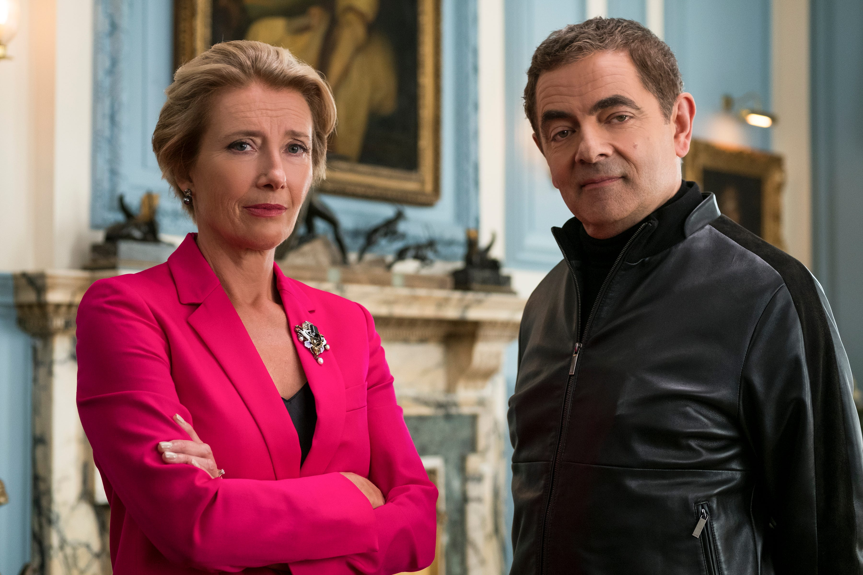 "A skeptical Emma Thompson (left) brings back Rowan Atkinson's bumbling secret agent in ""Johnny English Strikes Again."""