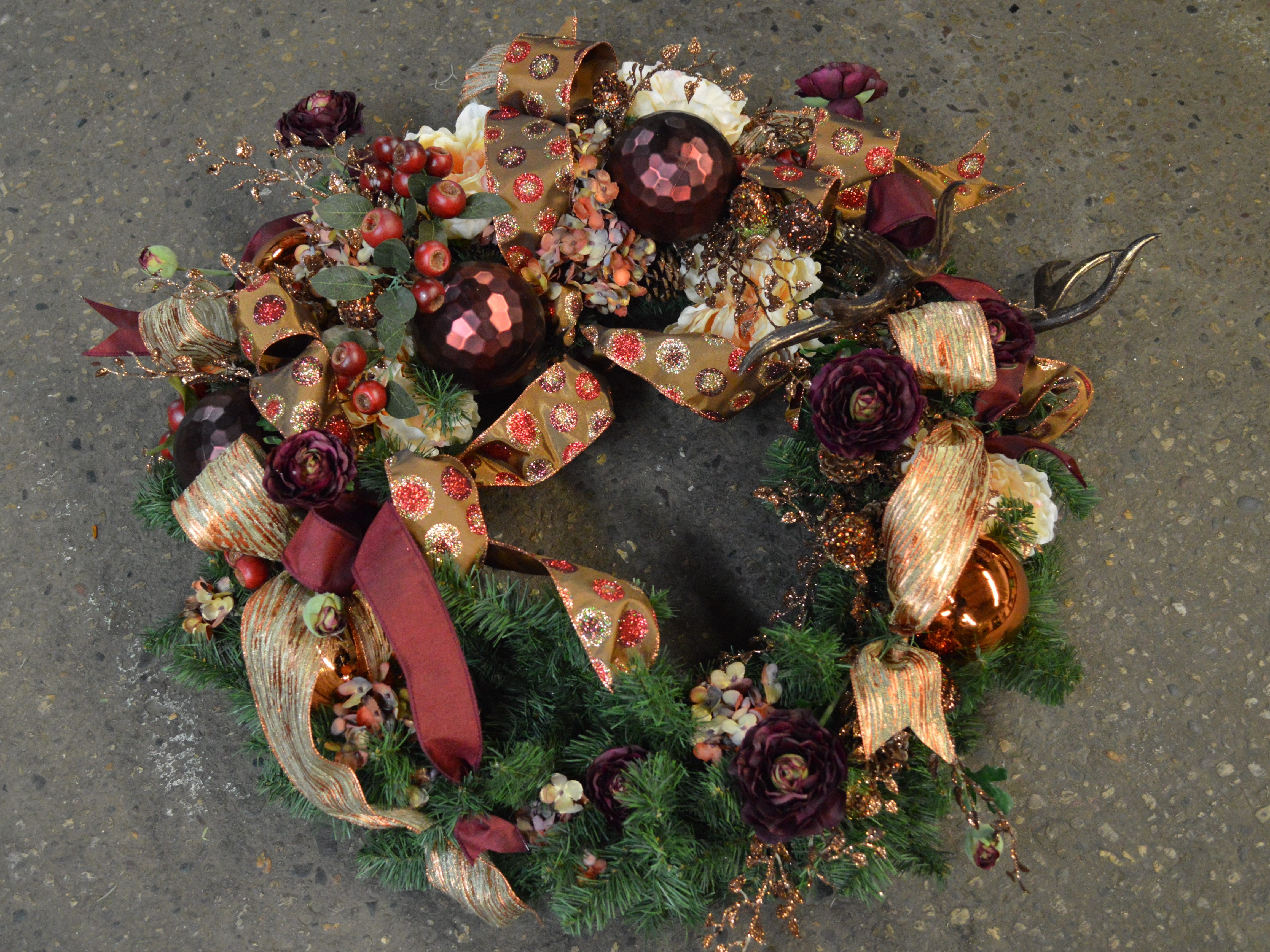 This transeasonal wreath took Grob a half hour to make. She said it would take a beginner about an hour to an hour and a half.