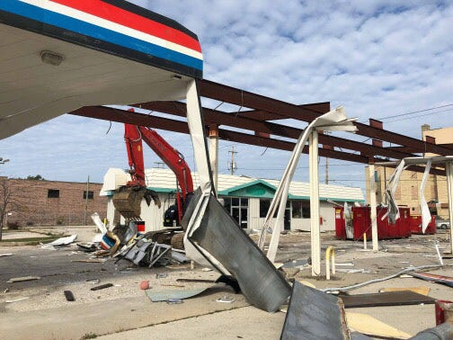 The former Amoco/BP gas station has been torn down in an effort to make the parcel a better redevelopment opportunity, according to Mayor Erik Brooks. Nothing has been announced for the location as of yet.