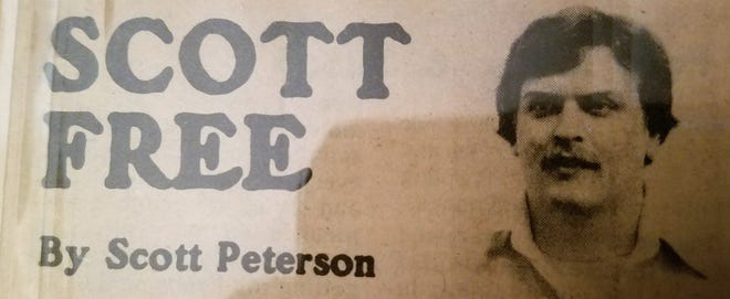 A yellowed copy of the original Scott Free header from the pages of the Hartford Times-Press in 1982.