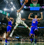 Through three games,  Giannis Antetokounmpo is averaging 27.3 points, a league-leading 16.0 rebounds, 5.7 assists and 1.3 blocks.