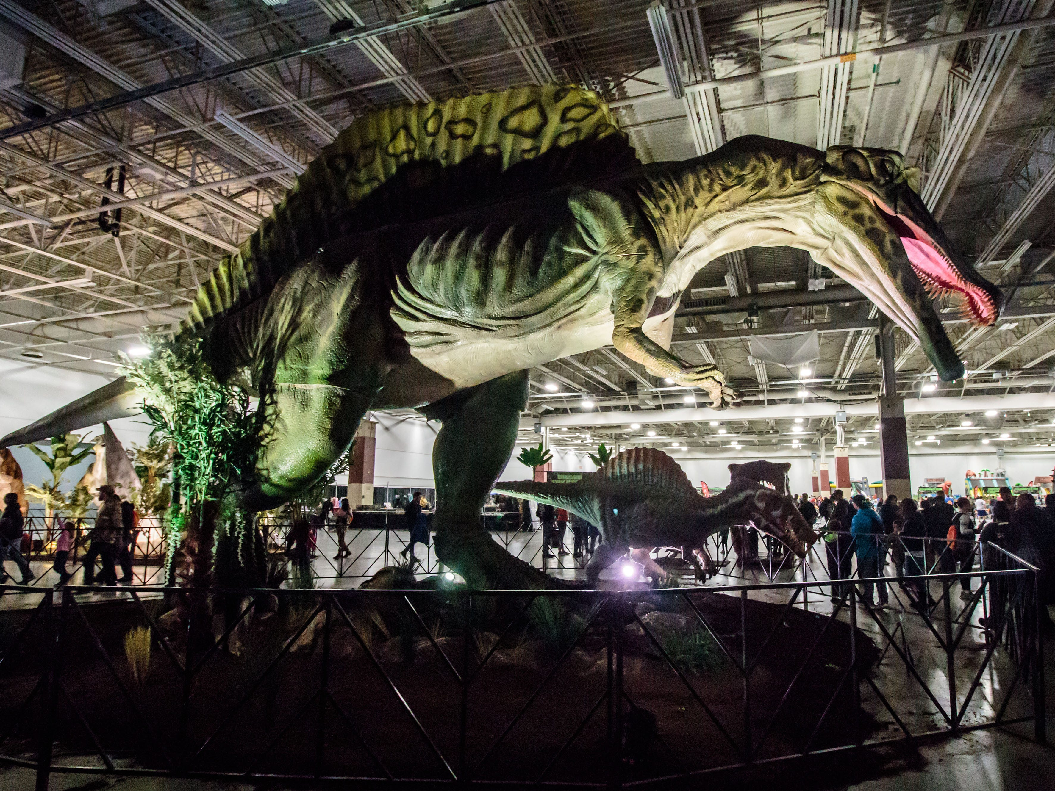 Dinosaurs of all shapes and sizes were on display during Jurassic Quest at Wisconsin State Fair Park in West Allis on Sunday, Oct. 21, 2018. The three-day event featured more than 80 life-sized animatronic dinosaurs, fossils, games, crafts, bounce houses and more.