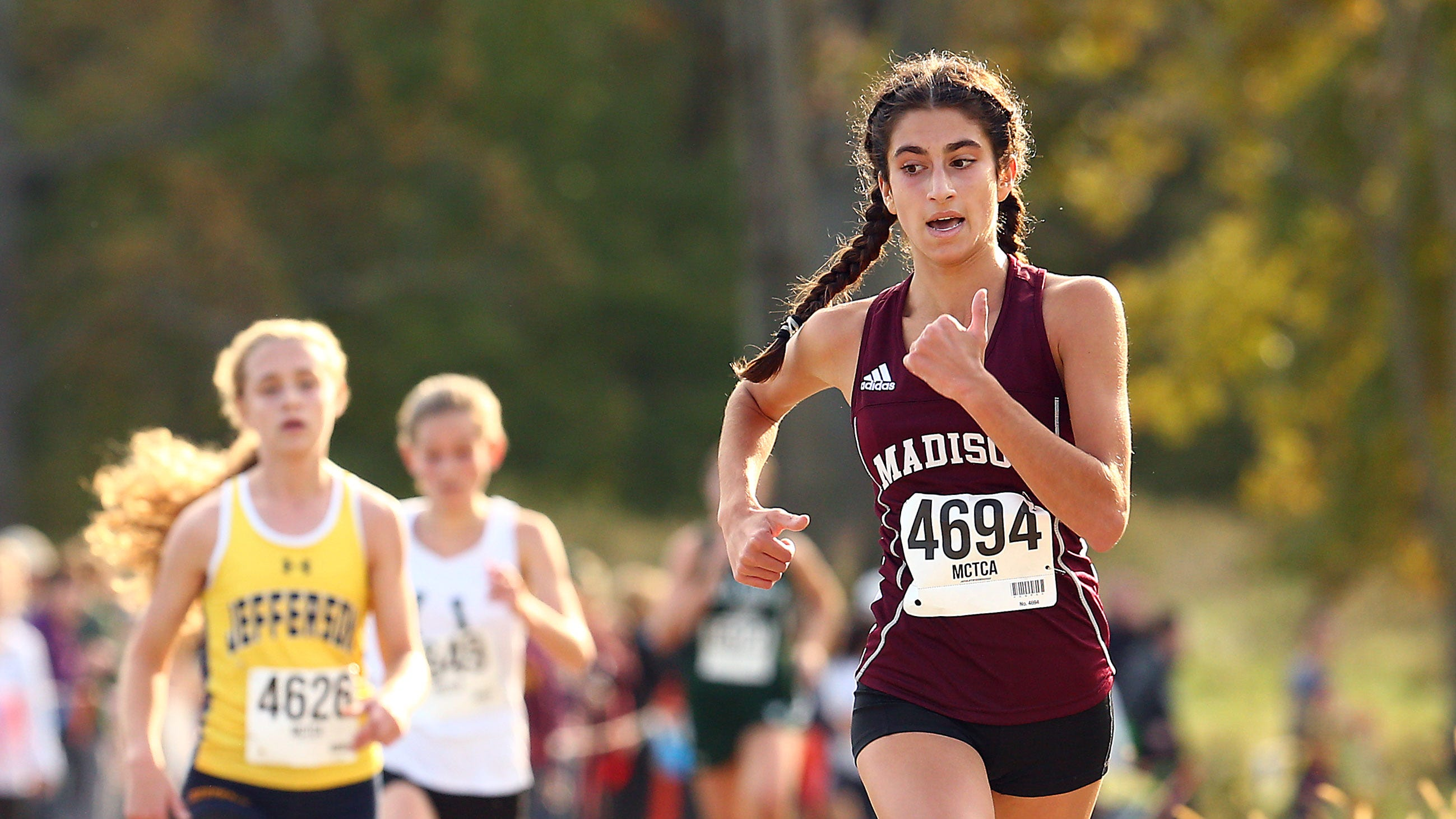 Madison sophomore Jamie Habib heads to the finish during the Morris County girls cross country championships at Central Park of Morris County. October 23, 2018, Morris Plains, NJ
