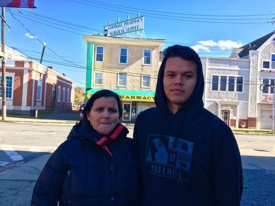 Maria Delgado and son Bryan Delgado, temporarily displaced by Oct. 22 fire in Dover