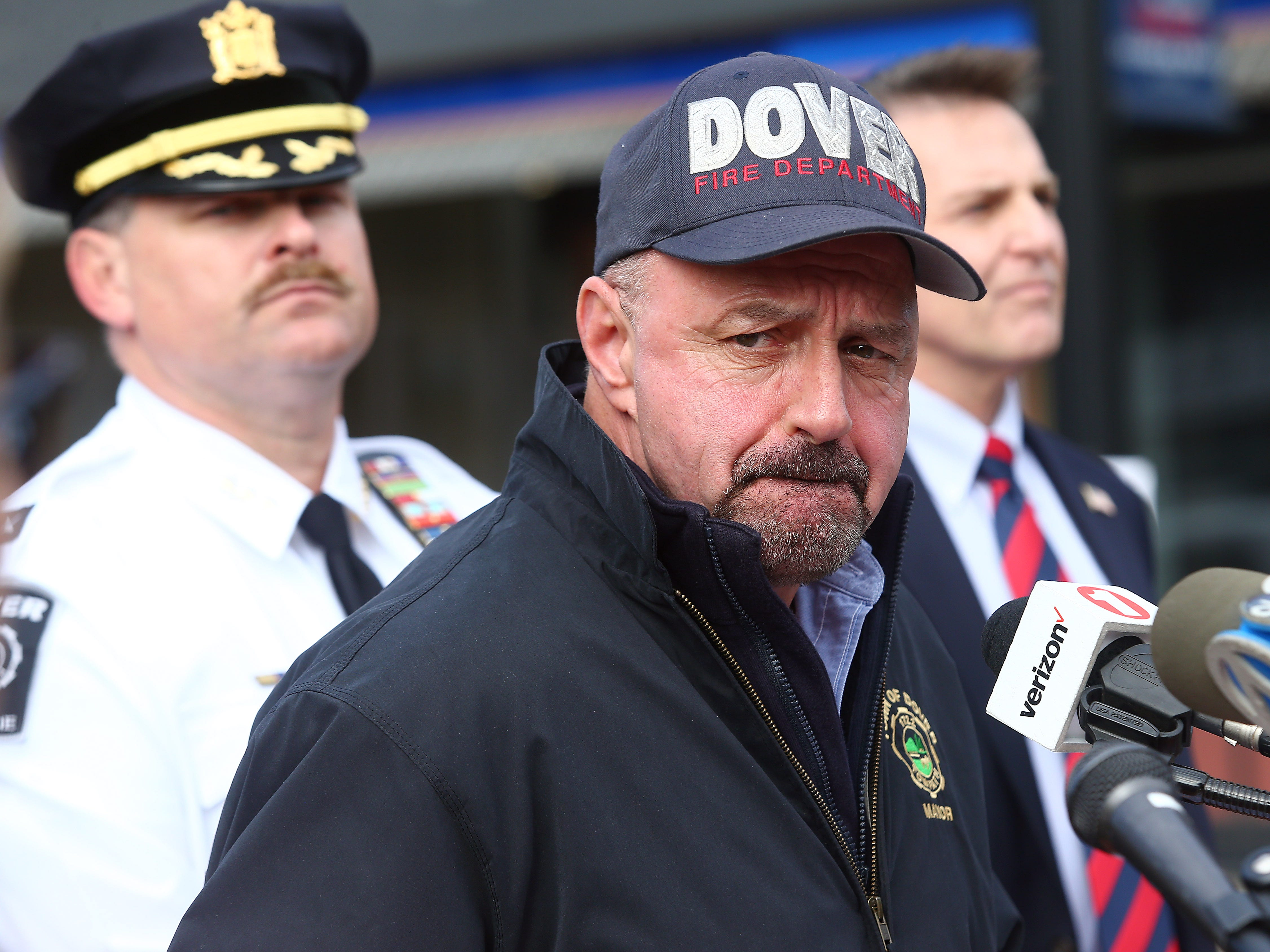 James Dodd, Mayor of Dover speaks to the media the morning after a devastating fire on North Warren Street in Dover that collapsed multiple businesses in a fast-moving, seven-alarm blaze that officials say started in the basement of Barry's restaurant. The fire then spread throughout the building and to others nearby that contained businesses and apartments Displacing about 100 people from their homes. October 23, 2018, Dover, NJ