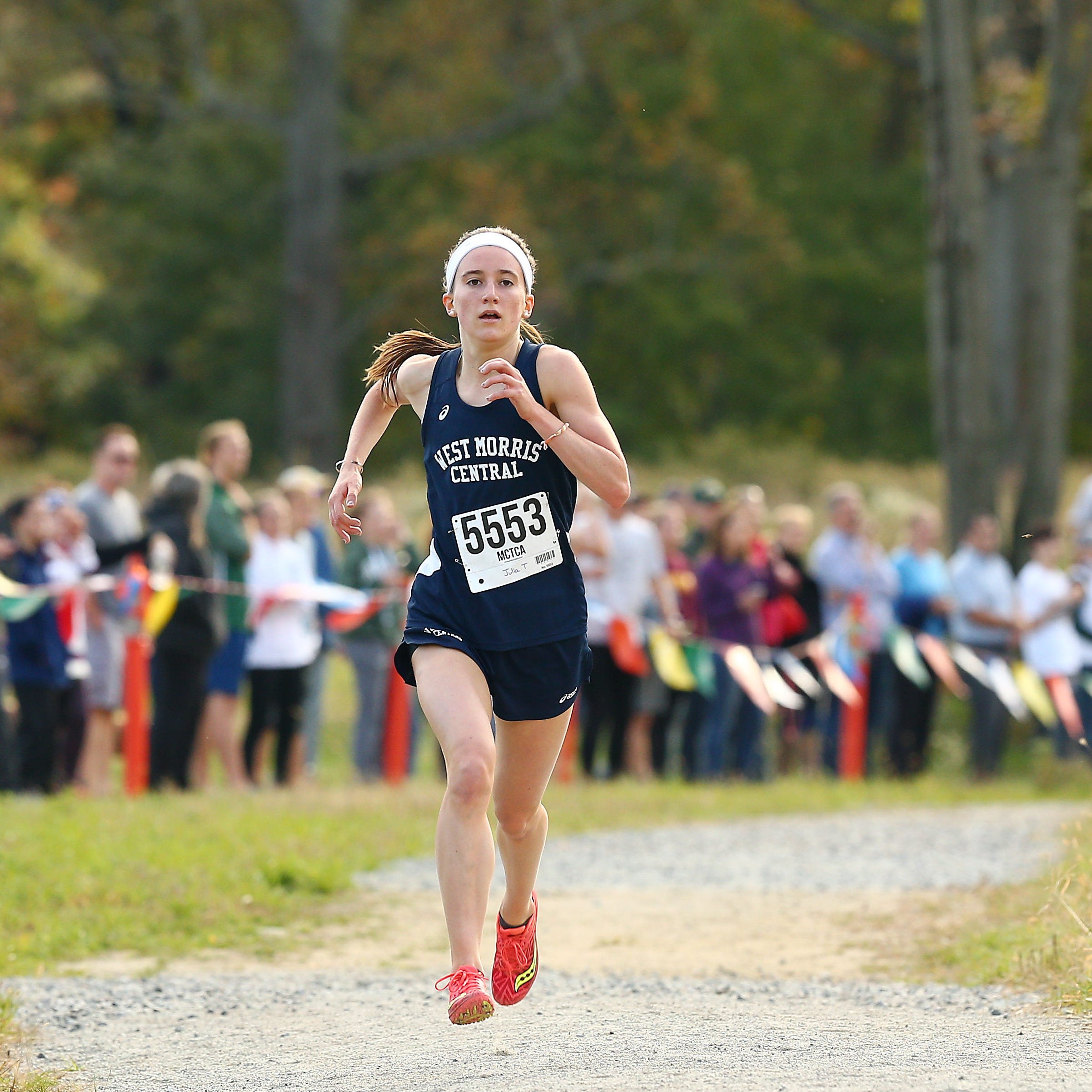 West Morris junior Julia Trethaway comes in for a second-place finish in the Morris County girls cross country championships at Central Park of Morris County. October 23, 2018, Morris Plains, NJ