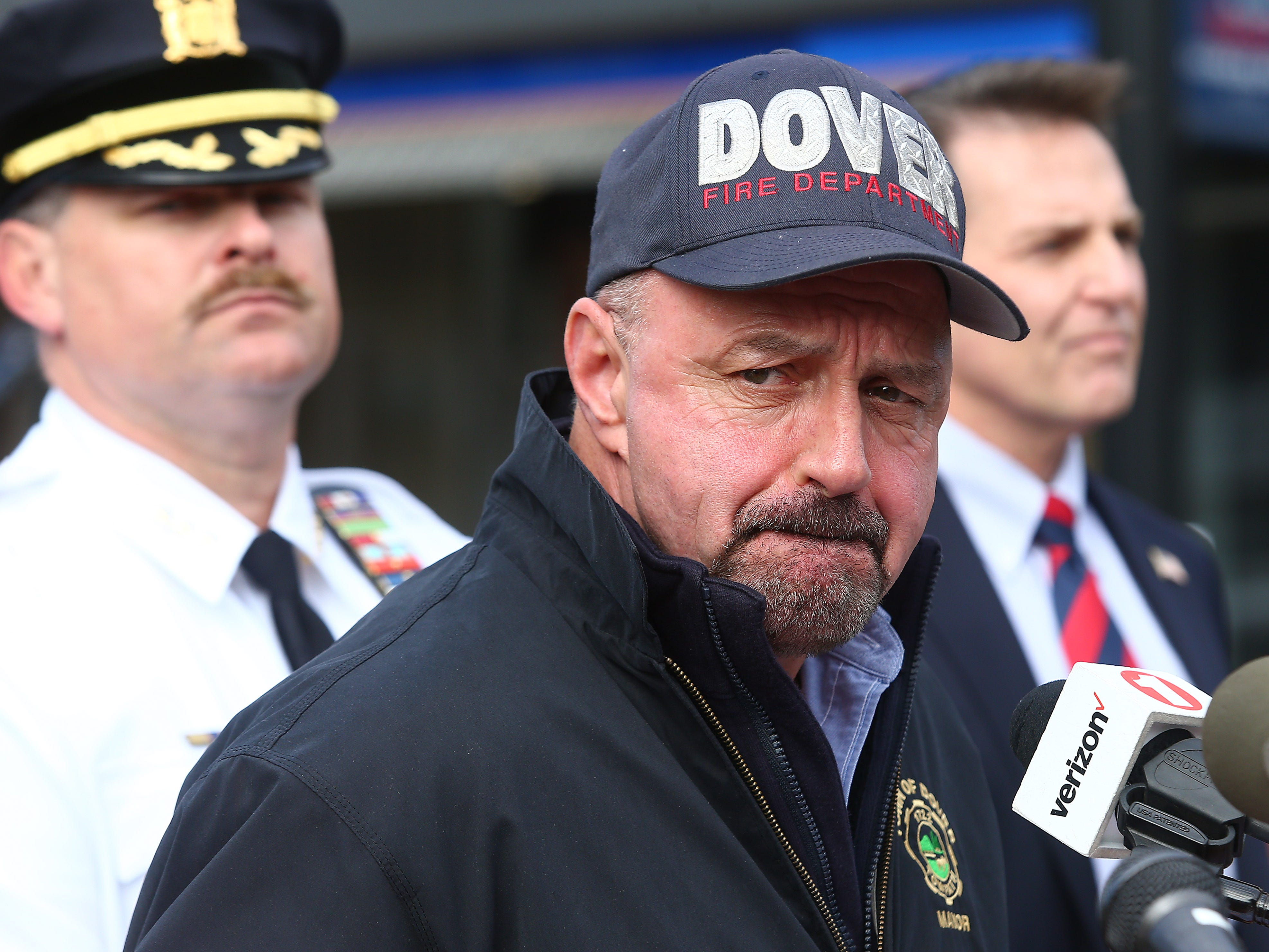 Dover Mayor James P. Dodd speaks to the media the morning after a devastating fire on North Warren Street in Dover that collapsed multiple businesses in a fast-moving, seven-alarm blaze that officials say started in the basement of Barry's restaurant. The fire then spread throughout the building and to others nearby that contained businesses and apartments Displacing about 100 people from their homes. October 23, 2018, Dover, NJ