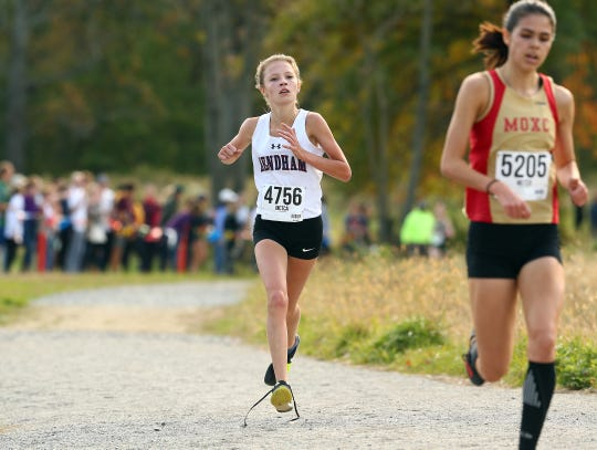 Mendham freshman Madison Orlins comes in for a 5th place finish during the Morris County girls cross country championships at Central Park of Morris County. October 23, 2018, Morris Plains, NJ