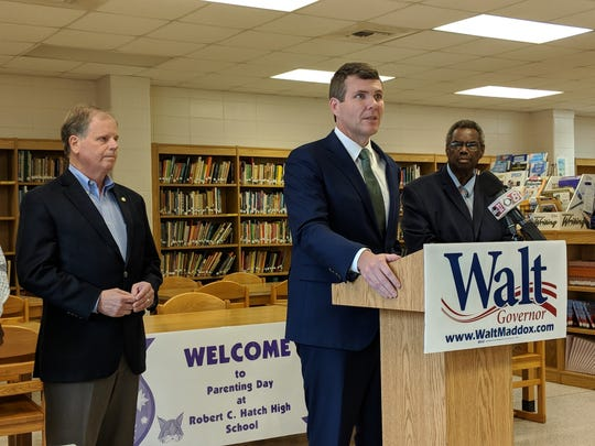 From left to right: U.S. Sen. Doug Jones, D-AL; Democratic gubernatorial candidate Walt Maddox; and State Sen. Hank Sanders, D-Selma. All were in attendance to call for Gov. Kay Ivey to fulfill requirements needed to secure federal funding to solve Perry County's wastewater overflow issue.