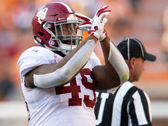 """Alabama defensive lineman Isaiah Buggs (49) pretends to direct """"Rocky Tp"""" during a timeout against Tennessee in first half action at Neyland Stadium in Knoxville, Tn., on Saturday October 20, 2018."""