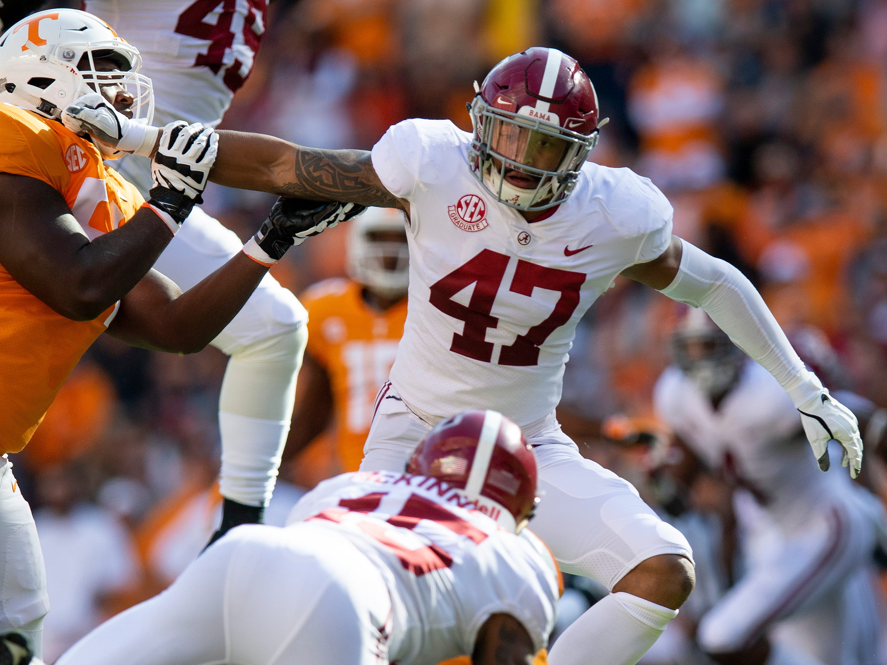 Alabama linebacker Christian Miller (47) in first half action against Tennessee at Neyland Stadium in Knoxville, Tn., on Saturday October 20, 2018.