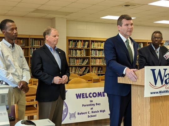 From left to right: State Rep. Ralph Howard, D-Greensboro; U.S. Sen. Doug Jones, D-AL; Democratic gubernatorial candidate Walt Maddox; and State Sen. Hank Sanders, D-Selma. All were in attendance to call for Gov. Kay Ivey to fulfill requirements needed to secure federal funding to solve Perry County's wastewater overflow issue.