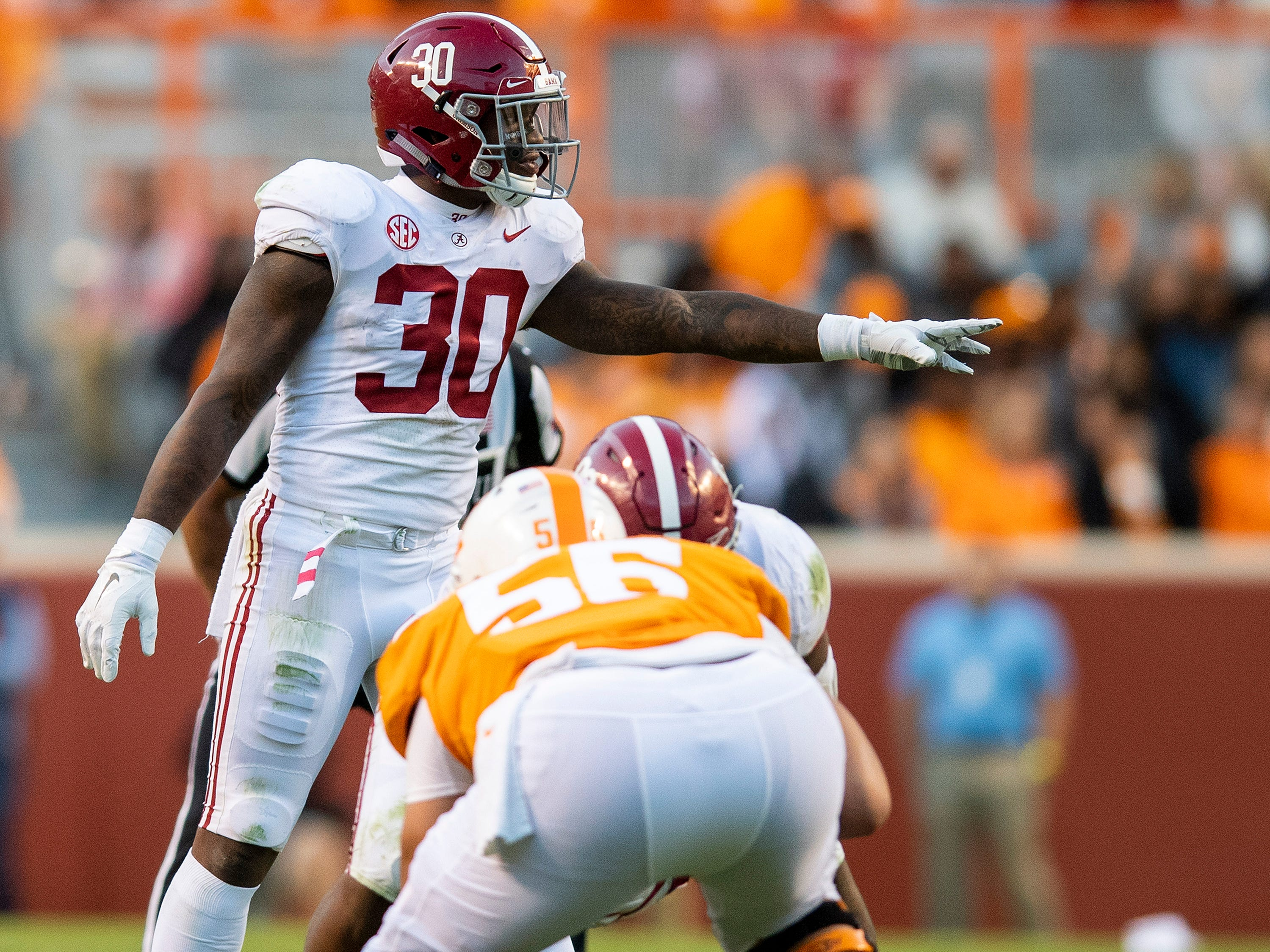 Alabama linebacker Mack Wilson (30) directs the defense against Tennessee in second half action at Neyland Stadium in Knoxville, Tn., on Saturday October 20, 2018.